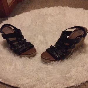 Black Wedge Sandals - Faded Glory - Size 8